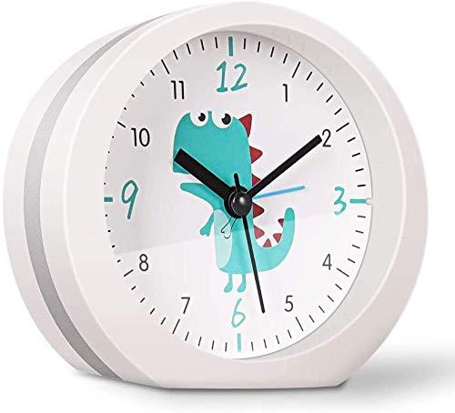 Reloj Despertador de cabecera Alimentado por batería con 15 Sonidos de Alarma Opcionales, sin tictac Reloj de Escritorio silencioso Relojes analógicos de Mesa Simple Snooze Luz Nocturna Manos