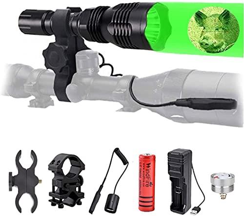 Linterna de caza WindFire con luz roja verde, Antorcha Táctica LED 350 Lúmenes Luz de Caza Coyote Hog Impermeable con Interruptor de Presión, Batería y Cargador ✅
