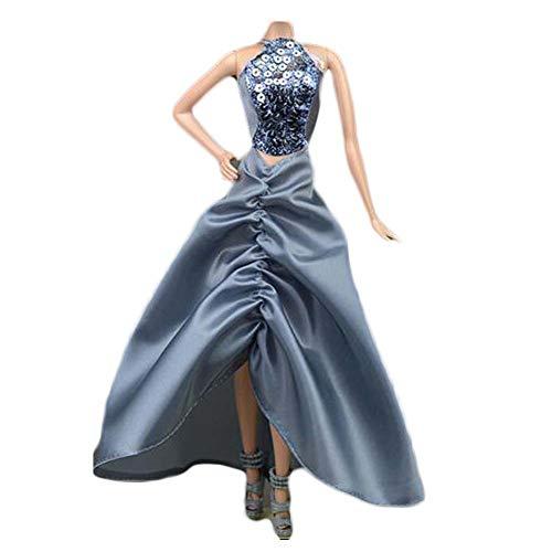 BLANCHO BEDDING Handgemachte Neckholder Top Abendkleid Grau Hochzeitsparty Kleid Puppe Kleidung für 11,5 Zoll Puppe