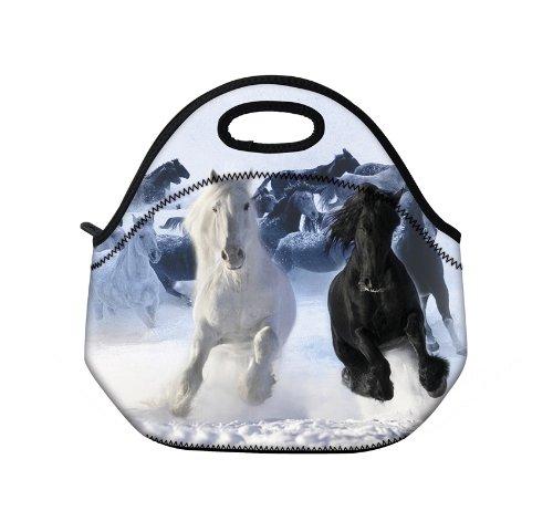 Nieuwe Mode Reizen Outdoor Cooler Thermische Waterdichte Lunch Bag Picknic Tote Box Container Geïsoleerde Zip Out Verwijderbare School Draaghandvat Tote Lunch tas - Zwart en wit paard D-19312