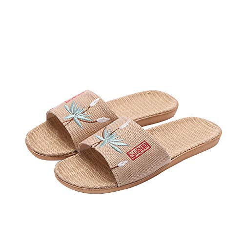 HUSHUI Chanclas de Playa Zapatos de Piscina para Niña,Sandalias Antideslizantes amortiguadoras, Zapatillas de Punta Abierta Bordadas en Lino-Verde 1_37-38,Masajes Playa Chanclas Sandalias