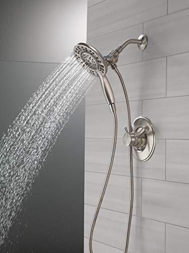 Delta Faucet Linden 17 Series Dual-Function Shower Faucet, Shower Trim Kit with 4-Spray In2ition 2-in-1 Dual Hand Held Shower Head with Hose, Stainless T17293-SS-I (Valve Not Included)