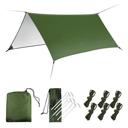 LAMA Amaca Rain Fly Telo da Tenda, [3m x 3m] Amaca Telo da Tenda Impermeabile Antivento Campeggio Riparo Portatile Leggero Basha Parasole per Neve Campeggio All'aperto Viaggio Verde (Verde)