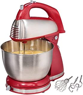 Hamilton Beach 64650 6-Speed Classic Stand Mixer, Stainless Steel ,Red (1)