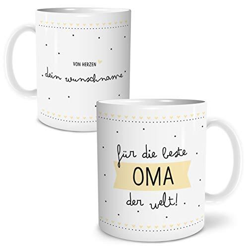 OWLBOOK Beste Oma Große Kaffee-Tasse mit Spruch im Geschenkkarton Personalisiert mit Namen Geschenke Geschenkideen für Oma zum Geburtstag
