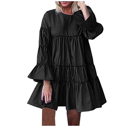 Sunhusing Mini Dress,Women Plus Size Solid O-Neck Ruffles Long Sleeve Mini Dress Ruffle Puff Sleeve Loose Beach Party Dress Black