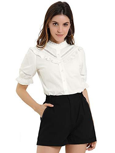 Allegra K Blusa con Cuello De Volantes Manga Corta Cuello Alto Camisa con Botones para Mujer Blanco M