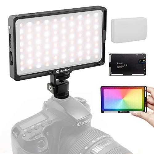 Moman LED Videoleuchte RGB mit Diffusor, Dimmbare Kamera Videolicht 2500-8500K CRI96+/TLCI98+, Dauerlicht eingebauter Akku, Klein Tragbar Mini Aluminium Fotolampe für DSLR Camcorder Sony Canon Nikon