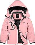 GEMYSE Giacca Impermeabile d'inverno da Sci da Montagna per Le Ragazze e Cappotto Invernale da Esterno in Pile Antivento con Cappuccio (Rosso Rosa,14-16)