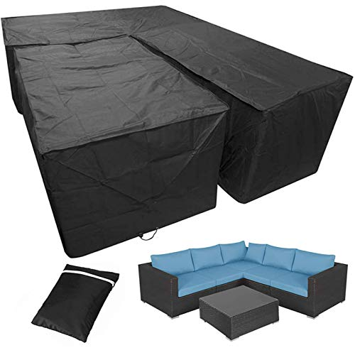 L Shaped Garden Furniture Cover Patio Set Furniture Covers Sectional Outdoor Corner Sofa Couch Protector Cover, 420d Heavy Duty Waterproof with Storage Bag, Black,215cm V+Rectangle