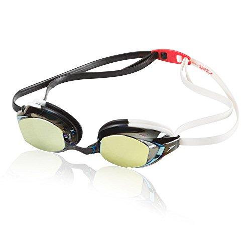 Speedo Unisex-Adult Swim Goggles Vanquisher Extended View Mirrored White/Black One Size