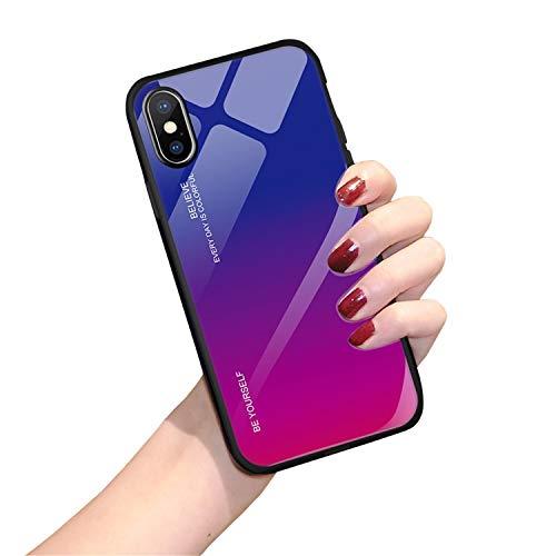 Hülle für iPhone X XS,Handyhülle iPhone XS MAX Glashülle [Ultra Hybrid Silikon TPU mit Gradient 9H Panzerglas] iPhone XR Case Cover Tasche Schale Kratzfeste Schutzhülle für iPhone XR