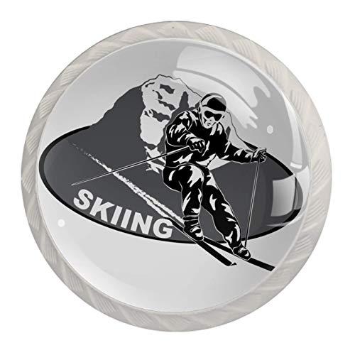 4 Stück Schrankknöpfe Sport Snowboarden Kunststoff Weiß Kristallglas Schubladenknöpfe Garderobe Ziehgriffe Möbelgriff 3.5x2.8cm