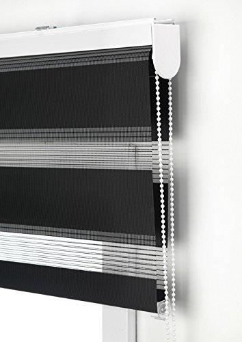 Estor Noche y día Enrollable a Medida Basic Tejido Color Negro. Medida 90cm x 250cm para Ventanas y Puertas