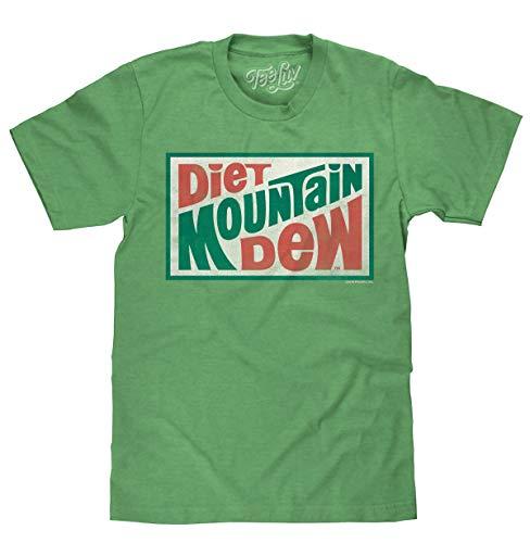 Tee Luv Diet Mountain Dew T-Shirt - Vintage MTN Dew Logo Shirt (Kelly Heather) (M)