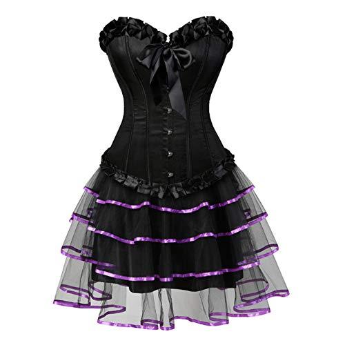 VKVNIEW Korsetten voor Vrouwen Lingerie Dansende Jurk Zwart Bustier Korset met Mini rok Gotische Jurk S-XXL