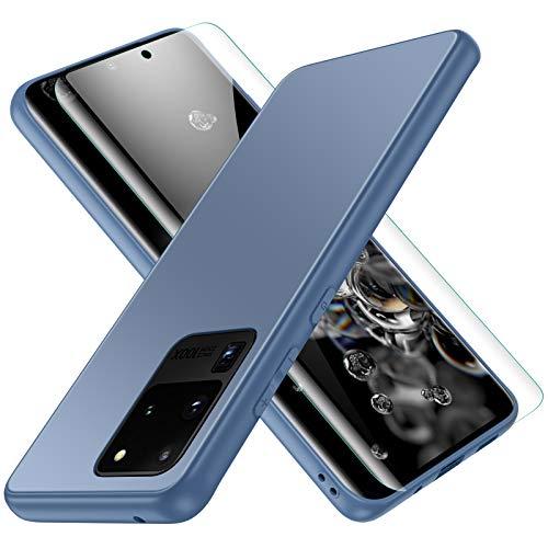 Funda para Samsung Galaxy S20 Ultra, Jonwelsy Lujo Suave Silicona Liquida Shockproof Proteccion Carcasa de Telefono + Mate Vidrio Templado Contraportada Case Cubierta para Samsung S20U (Azul Pacífico)