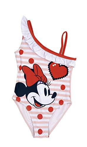 Disney Minnie Mouse Bañador Rosa para Niñas, Diseño 3D Volantes, Traje de Baño Una Pieza, Piscina Vacaciones Playa, Regalo para Niñas, 4 a 8 Años