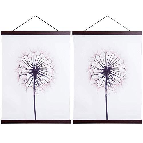 Sanauto Listones para póster magnéticos de madera, para colgar cuadros, 70 x 100, 70 x 50 (70 cm, nogal, 2 paquetes)