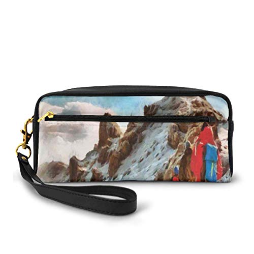 Pencil Case Pen Bag Pouch Stationary,Group of Trekkers Hiking Among Snows of Kilimanjaro in Winter in Painting Style,Small Makeup Bag Coin Purse