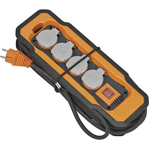 Brennenstuhl 9156480100 Steckdosenleiste mit Schalter 4fach Schwarz, Orange, Grau Schutzkontakt