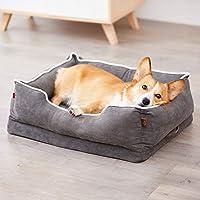 ぬいぐるみ ソフト 整形外科 犬 ベッド,ペット ベッド 取り外し可能なカバー 防水 ベッドマット クッション 小さい 中型 犬とペット-グレー 90x68x23cm(35x27x9inch)