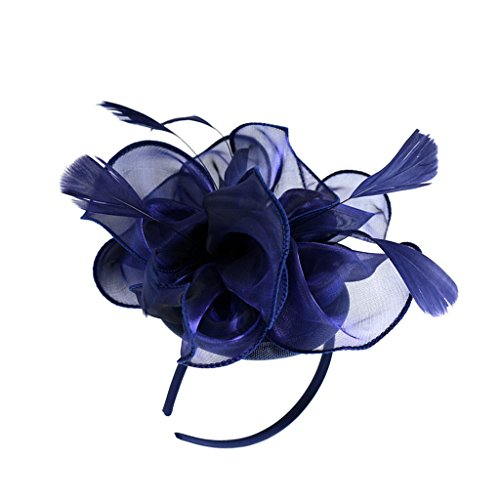 MagiDeal Dame Blume Fascinator Hut 1920er Gatsby Stirnband Cocktail Party - Navy blau