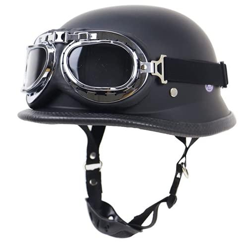 HANGYUN Casco de moto vintage con gafas de aviador, para hombre y mujer, homologado ECE/DOT, para motociclista, color negro mate, talla L (59 ~ 60)