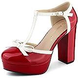 Allegra K Women's Platform Bow T Strap Chunky Heels Red Pumps 10 M US