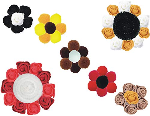 DIY Craft Kit |Foam Flowers for Decoration |Round Soft Fluffy Colourful Pom Pom for Handcraft, Party Decoration|Pipe Cleaners (Black Red Gold White, Flowers Pompom Pipes Large)