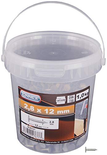 Connex Dachpappstifte 2,8 x 12 mm - 1000 g - Senkkopf - Verzinkt - Aufbewahrung in praktischem Eimer - Ideal für Dachpappe & Schiefernplatten / Breitkopfstifte / Dachpappennägel / Großpack / B30121