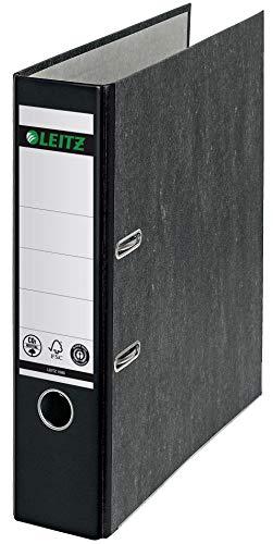 Leitz Qualitäts-Ordner 180°, A4, klimaneutral, 100 {6c62b32fbd696bcfee23b0f520a7daaeb588004bf2f9f7b7f195f74f5ff92b74} recycelter Karton, 8 cm Rückenbreite, Wolkenmarmor-Papier, Schwarzer Rücken, 10805095