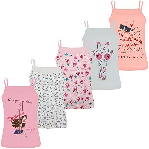 LOREZA ® 5 Stück Mädchen Baumwolle Unterhemden Spagettiträger (92-98 (2-3 Jahre), Modell 3)
