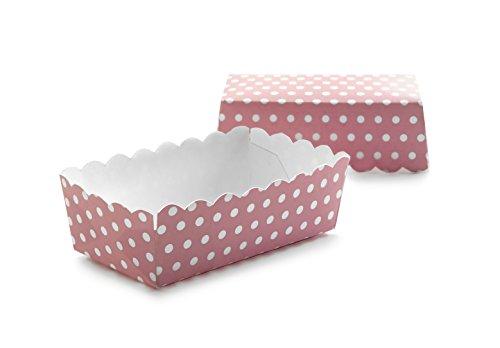 Ibili Muffinförmchen-Set, rechteckig, Papier, rosa/weiß, 9.5 x 3.2 x 5.5 cm, 12 Stück