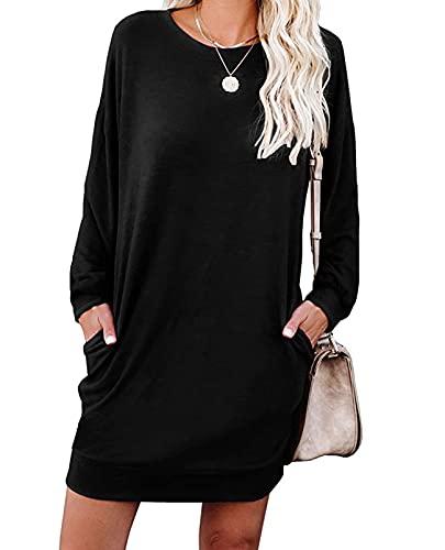 LuckyMore Women's Fashion Hoodies & Sweatshirts Pullover Long Sleeve Casaul Sweater Dress Black L