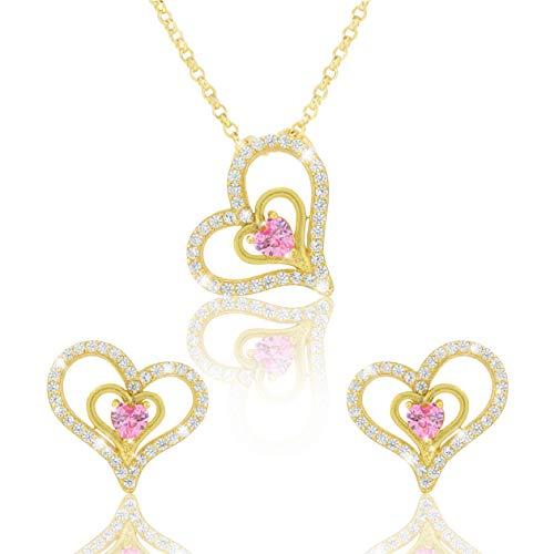 PAVEL´S Damen Schmuck Set LOVELY PINK Herzschmuck Herzen Set 18 Karat vergoldet mit rosa Zirkonia Halskette Ohrstecker inkl. Schmuckbox und Zertifikat