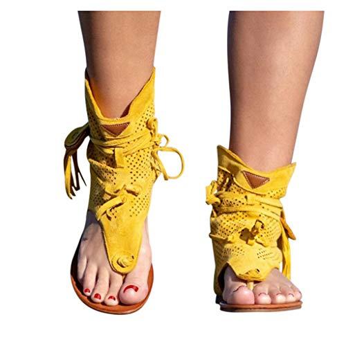 Writtian Zapatos Casuales para Mujer, Sandalias de Gladiador Romanas con borlas para Mujer, 2021, Botas Sexis de Verano con Punta de Clip, Calzado cómodo para Mujer Nuevo