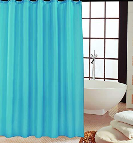 KAV - Duschvorhänge, Duschvorhang aus Polyester, Anti-Schimmel, Anti-Bakteriell, Schimmelresistenter & Wasserabweisend mit 12 Duschvorhangringen / 180 x 220 cm blaugrün