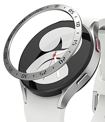 Ringke Bezel Styling Compatible con Protector Samsung Galaxy Watch 4 (40mm) Carcasa Adhesiva Acero Inoxidable para Reloj Bisel, Funda Galaxy Watch 4 40mm - 40-01 (ST) Silver