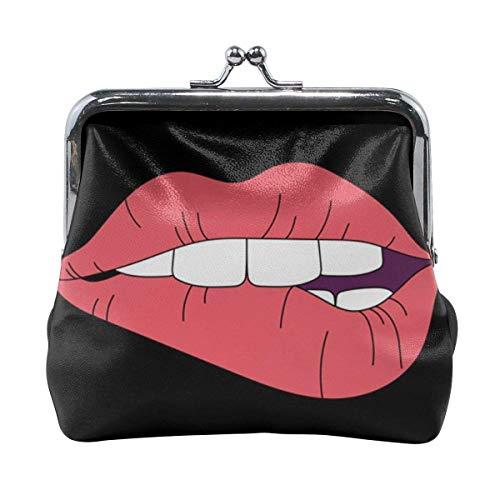 TYDhey Mujeres Lip Power Classic Buckle Monederos Monederos de Cuero Kiss-Lock Change Wallets