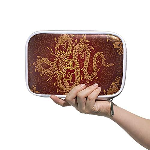 Estuche de lápices de dragón chino animal con cremallera bolsa de lápiz de gran capacidad para bolígrafo de maquillaje