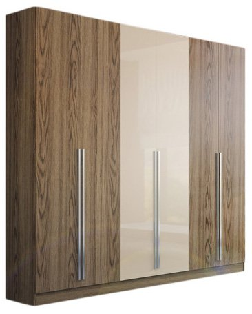 "Manhattan Comfort Eldrige Collection 6 Door Freestanding Wardrobe Closet for Bedroom Use, 90"" L x 19"" D x 90"" H, Nature/Nude"