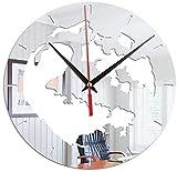 dh-2 Orologio da Parete Terra Adesivo da Parete in Acrilico Orologio Decorazione per la casa Adesivo per Specchio Soggiorno Orologio da Parete per Camera da Letto