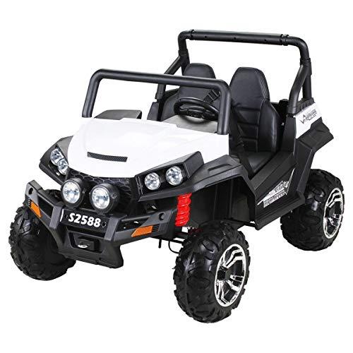 Kinder Elektroauto Maverick Buggy Offroad - Lizenziert - 4x4 Allrad - USB - Sd Karte - 4 x 45 Watt Motor - 2 Personen - Rc 2,4 Ghz Fernbedienung - Elektro Auto für Kinder ab 3 Jahre (Weiß/Schwarz)