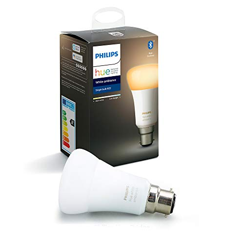 Philips Hue Ampoule LED Connectée White Ambiance B22 Compatible Bluetooth, Fonctionne avec Alexa