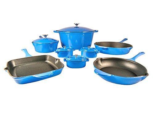 Le Chef 13-Piece ALL Enamel Cast Iron France Blue Cookware Set.
