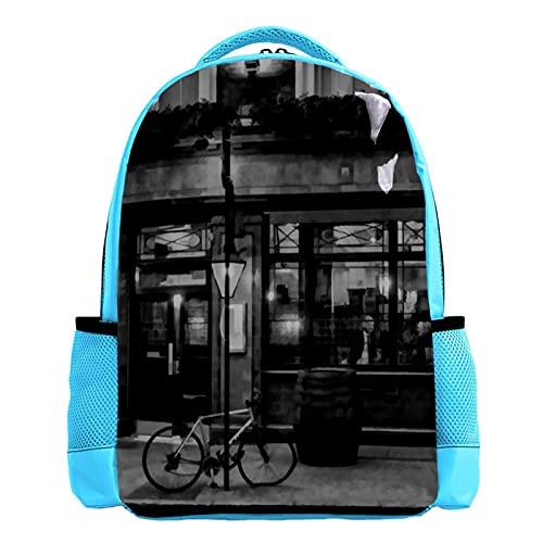YATELI Mochila ligera para la escuela,Ilustración de barra de Londres , Mochila informal clásica básica resistente al agua para viajes con bolsillos laterales para botellas