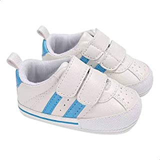 Mix and Max Pull-Tab Contrast-Stripe Low-Top Velcro-Strap Shoes for Boys - Off White and Blue, 12-18 Months
