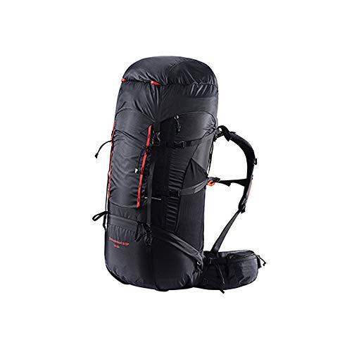 WEIFAN-Outdoor Hiking Backpack Sac d'alpinisme extérieur Sac à Dos de randonnée léger Anti-éclaboussures résistant à l'usure 65 + 10L Sacoche latérale Upgrade résistant à l'usure Habillage Pluie Noir