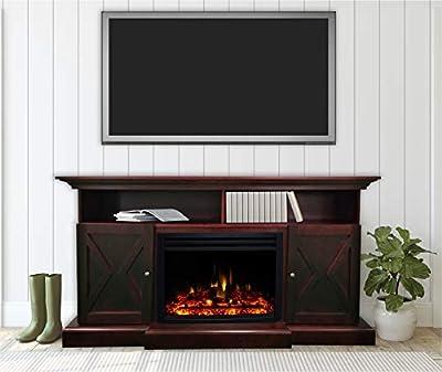 CAMBRIDGE 62-in. Summit Farmhouse Style Deep Log Insert,Slate Blue, CAM6215-1SBLLG3 Electric Fireplace Mantel